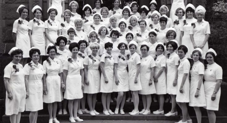 Historic photo of nurses outside of Sage Hall