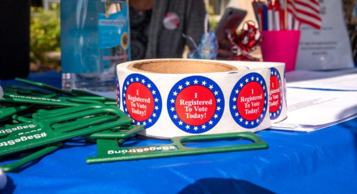 Voter Registration Table on campus
